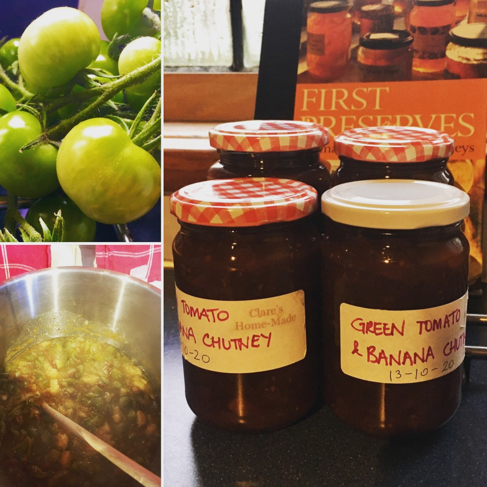 A montage of photos showing the making of green tomato and banana chutney